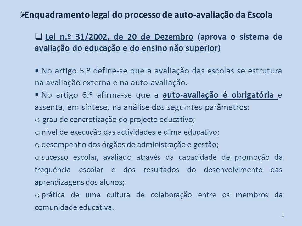 4 Enquadramento legal do processo de auto-avaliação da Escola Lei n.º 31/2002, de 20 de Dezembro (aprova o sistema de avaliação do educação e do ensin