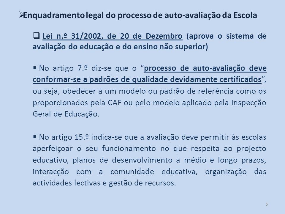 5 Enquadramento legal do processo de auto-avaliação da Escola Lei n.º 31/2002, de 20 de Dezembro (aprova o sistema de avaliação do educação e do ensin