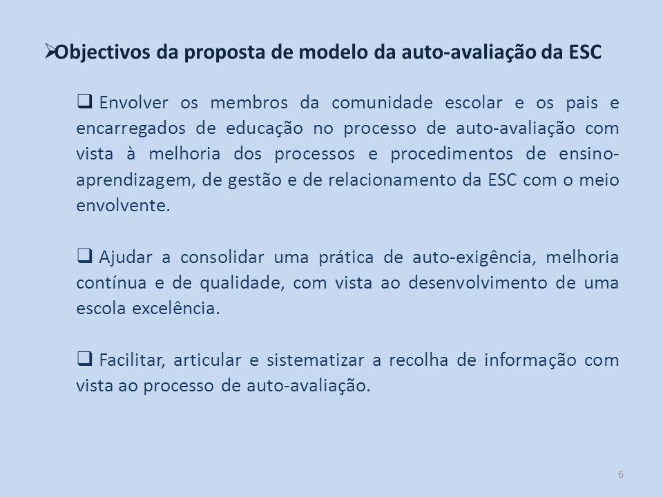 6 Objectivos da proposta de modelo da auto-avaliação da ESC Envolver os membros da comunidade escolar e os pais e encarregados de educação no processo