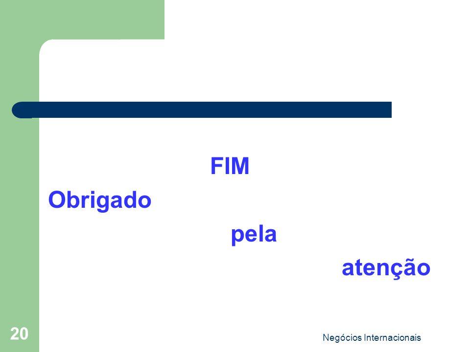 Negócios Internacionais 20 FIM Obrigado pela atenção