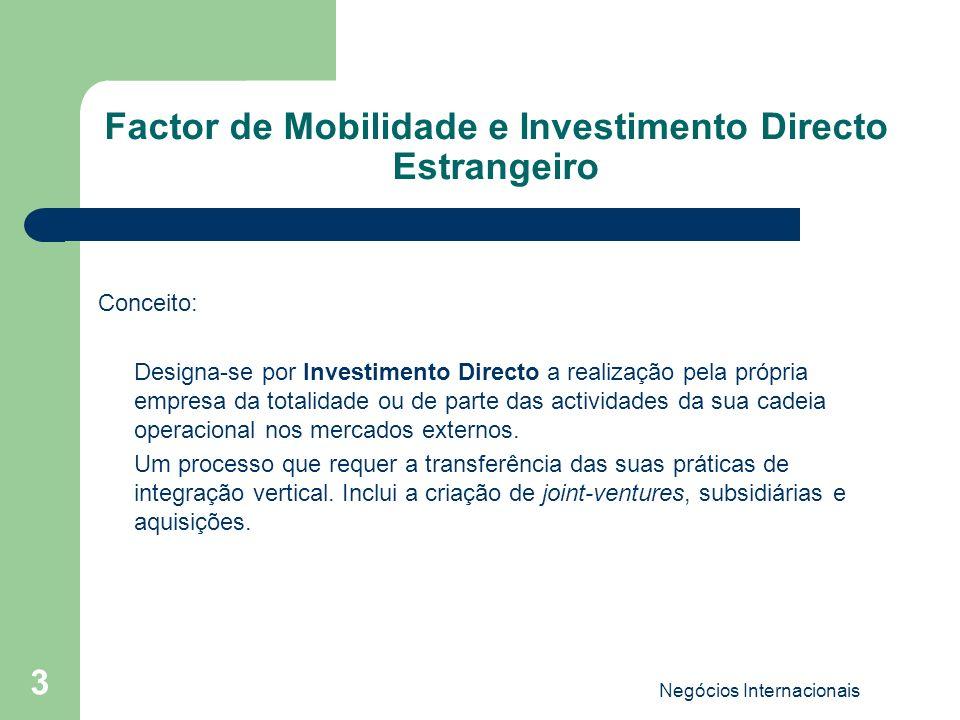 Negócios Internacionais 3 Factor de Mobilidade e Investimento Directo Estrangeiro Conceito: Designa-se por Investimento Directo a realização pela próp