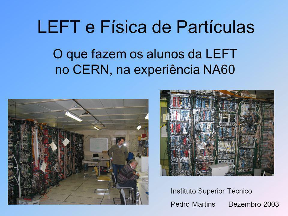 LEFT e Física de Partículas O que fazem os alunos da LEFT no CERN, na experiência NA60 Instituto Superior Técnico Pedro MartinsDezembro 2003