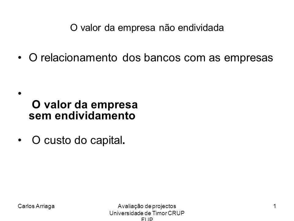 Carlos ArriagaAvaliação de projectos Universidade de Timor CRUP FUP 32 Modelo dos free cash flows Vo = (d1 –ΛK1+V1) / (1+r) Se d1 –ΛK1 for constante = Free cash flow Vo = (FCF1 + V1)/ (1+r) Vt = ((fct t+1 ) + V t+1) /(1+r) Vo = Σ fct t / (1+r) t
