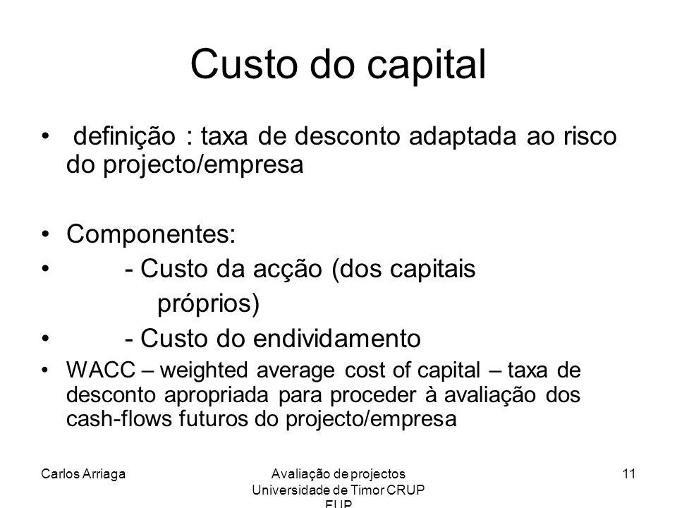 Carlos ArriagaAvaliação de projectos Universidade de Timor CRUP FUP 11 Custo do capital definição : taxa de desconto adaptada ao risco do projecto/emp