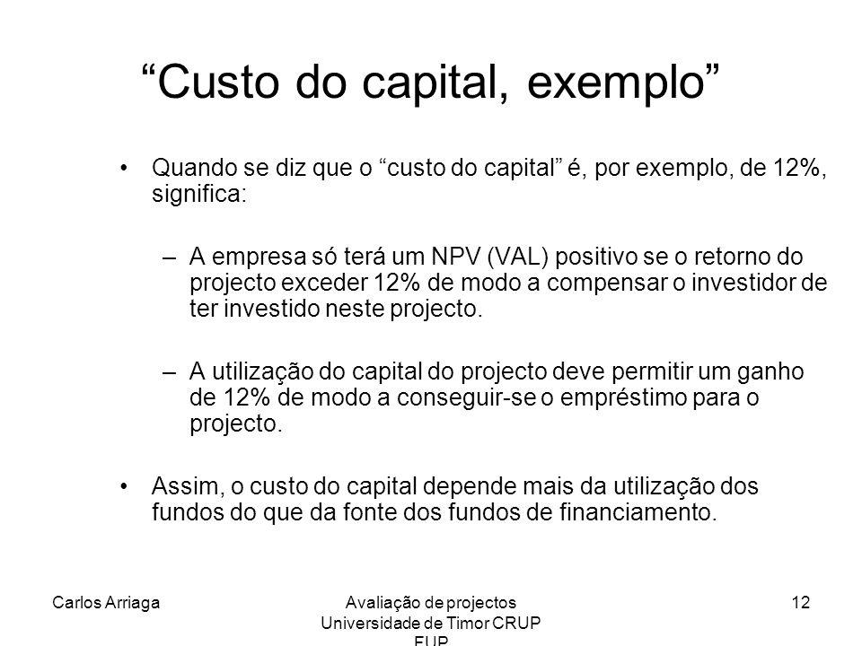 Carlos ArriagaAvaliação de projectos Universidade de Timor CRUP FUP 12 Custo do capital, exemplo Quando se diz que o custo do capital é, por exemplo,