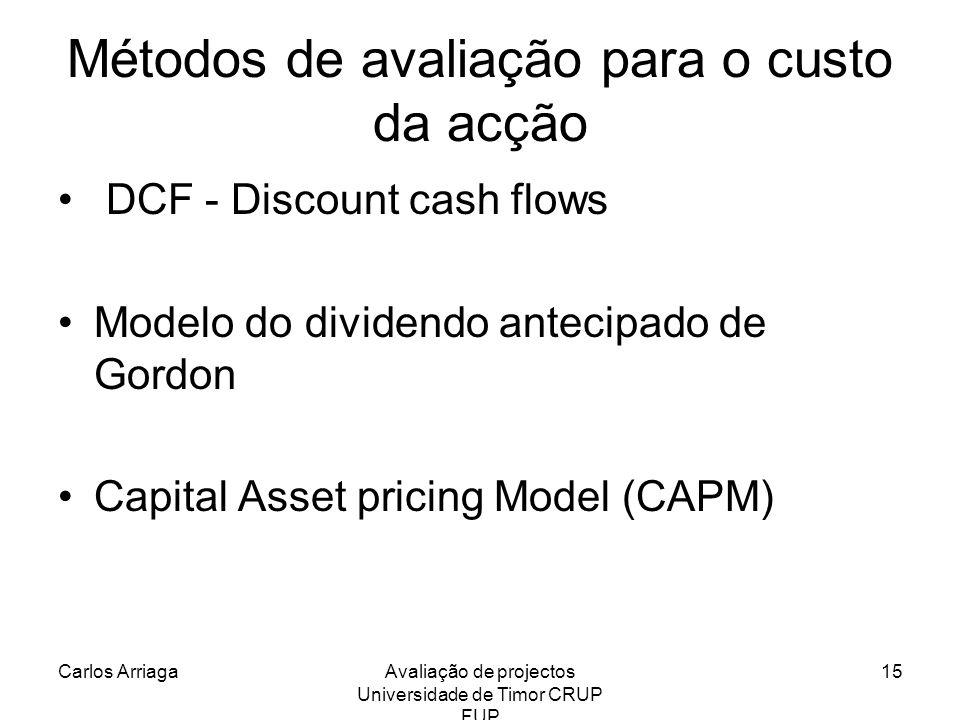 Carlos ArriagaAvaliação de projectos Universidade de Timor CRUP FUP 15 Métodos de avaliação para o custo da acção DCF - Discount cash flows Modelo do