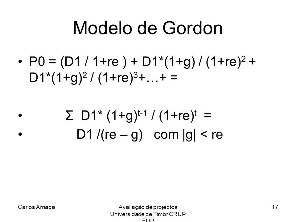 Carlos ArriagaAvaliação de projectos Universidade de Timor CRUP FUP 17 Modelo de Gordon P0 = (D1 / 1+re ) + D1*(1+g) / (1+re) 2 + D1*(1+g) 2 / (1+re)