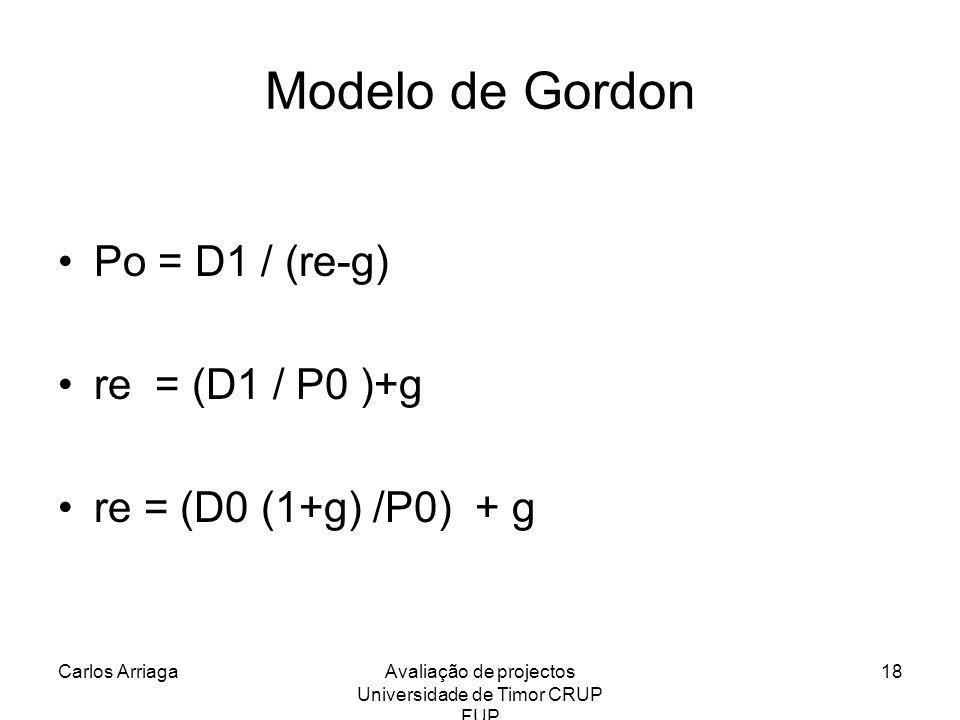 Carlos ArriagaAvaliação de projectos Universidade de Timor CRUP FUP 18 Modelo de Gordon Po = D1 / (re-g) re = (D1 / P0 )+g re = (D0 (1+g) /P0) + g