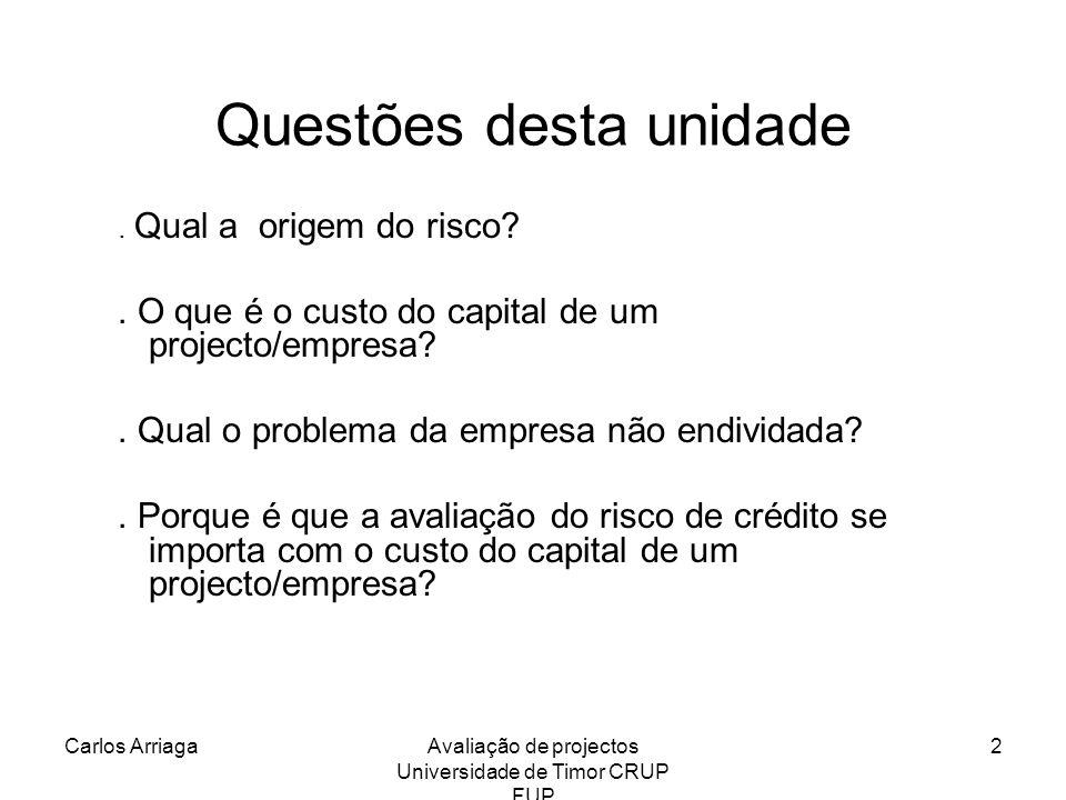 Carlos ArriagaAvaliação de projectos Universidade de Timor CRUP FUP 3 Qual a origem do risco.