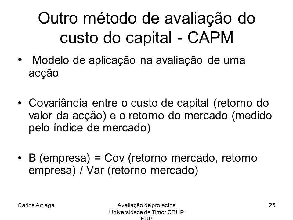 Carlos ArriagaAvaliação de projectos Universidade de Timor CRUP FUP 25 Outro método de avaliação do custo do capital - CAPM Modelo de aplicação na ava