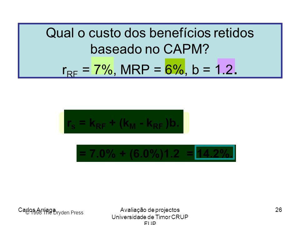 Carlos ArriagaAvaliação de projectos Universidade de Timor CRUP FUP 26 © 1998 The Dryden Press Qual o custo dos benefícios retidos baseado no CAPM? r