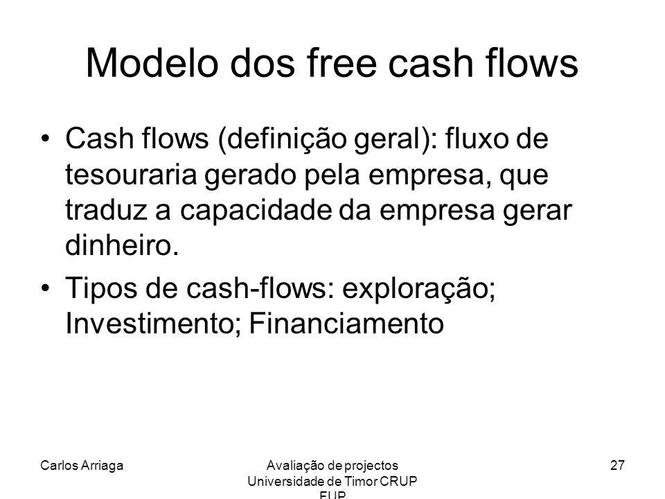 Carlos ArriagaAvaliação de projectos Universidade de Timor CRUP FUP 27 Modelo dos free cash flows Cash flows (definição geral): fluxo de tesouraria ge