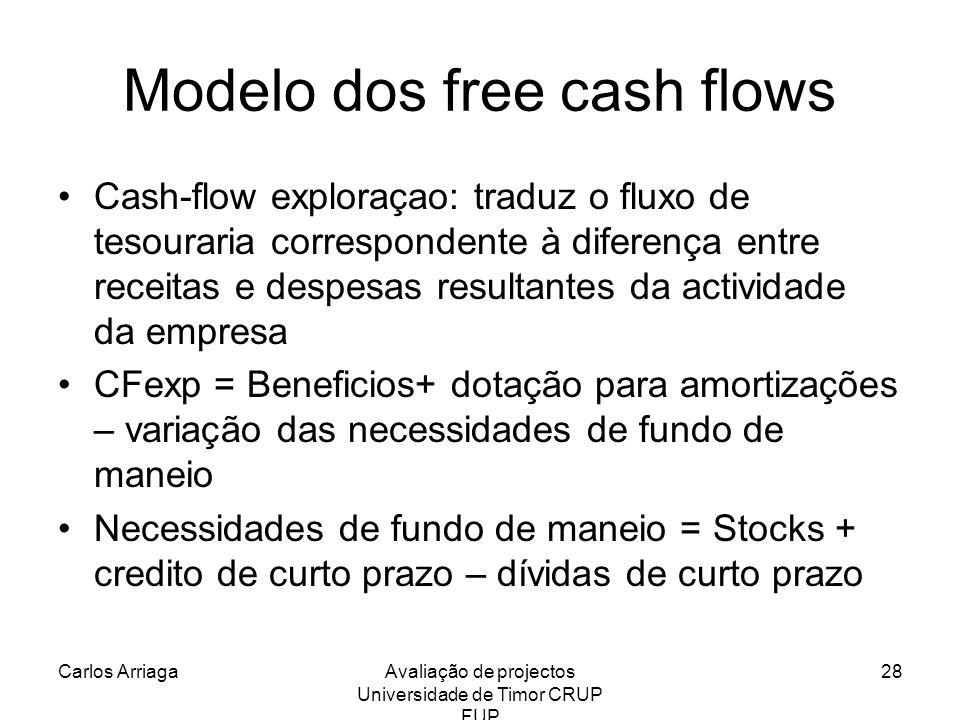 Carlos ArriagaAvaliação de projectos Universidade de Timor CRUP FUP 28 Modelo dos free cash flows Cash-flow exploraçao: traduz o fluxo de tesouraria c