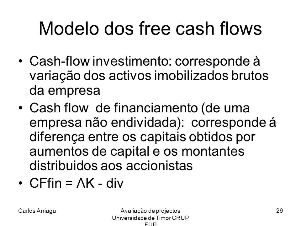 Carlos ArriagaAvaliação de projectos Universidade de Timor CRUP FUP 29 Modelo dos free cash flows Cash-flow investimento: corresponde à variação dos a
