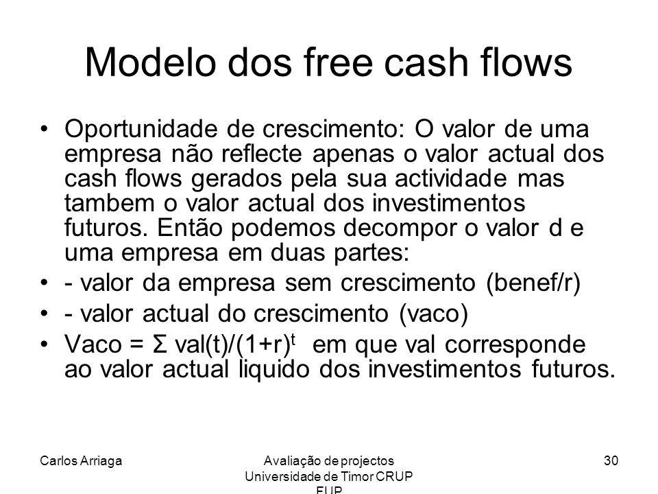 Carlos ArriagaAvaliação de projectos Universidade de Timor CRUP FUP 30 Modelo dos free cash flows Oportunidade de crescimento: O valor de uma empresa