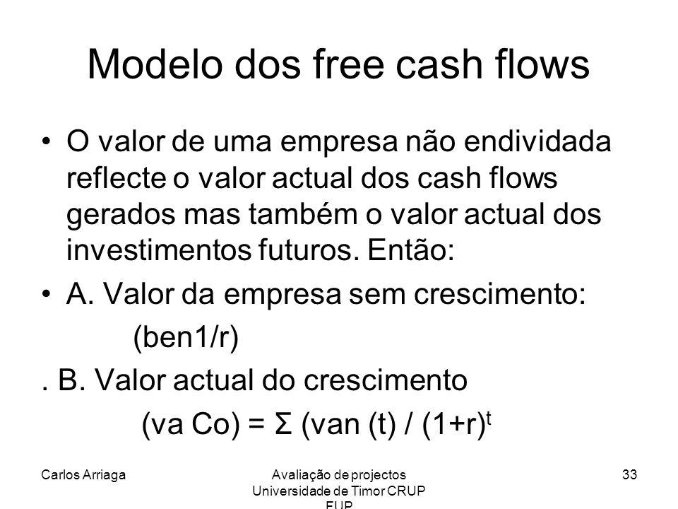 Carlos ArriagaAvaliação de projectos Universidade de Timor CRUP FUP 33 Modelo dos free cash flows O valor de uma empresa não endividada reflecte o val