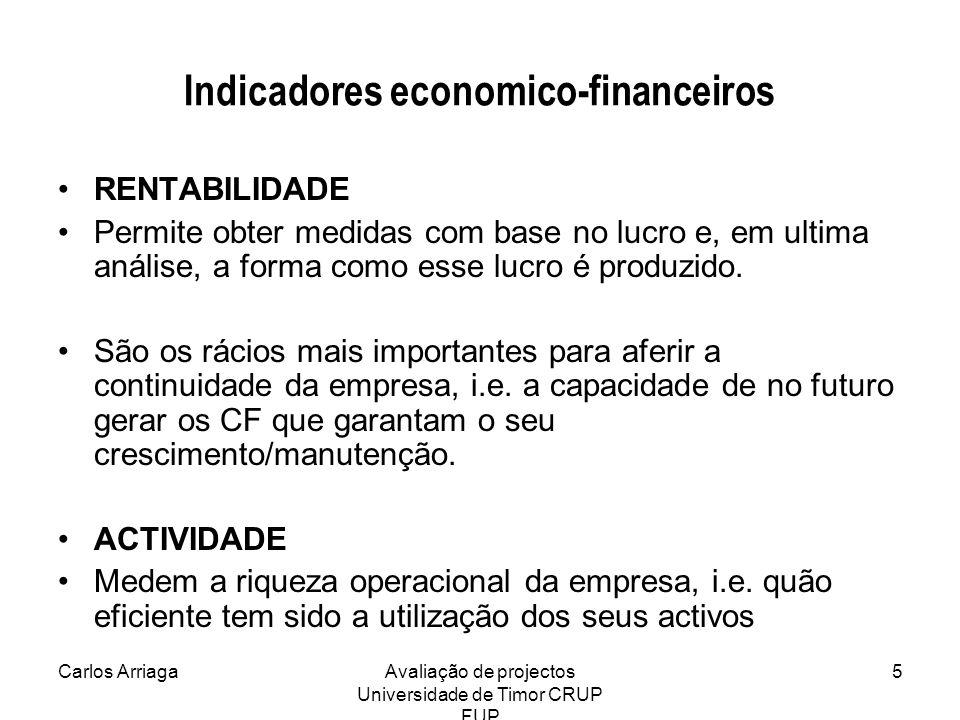 Carlos ArriagaAvaliação de projectos Universidade de Timor CRUP FUP 5 Indicadores economico-financeiros RENTABILIDADE Permite obter medidas com base n