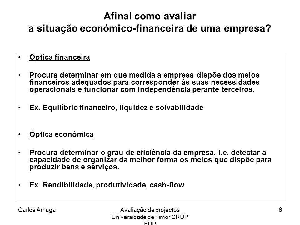 Carlos ArriagaAvaliação de projectos Universidade de Timor CRUP FUP 6 Afinal como avaliar a situação económico-financeira de uma empresa? Óptica finan