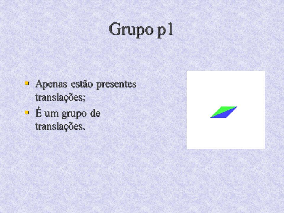 Grupo p1 Apenas estão presentes translações; Apenas estão presentes translações; É um grupo de translações. É um grupo de translações.