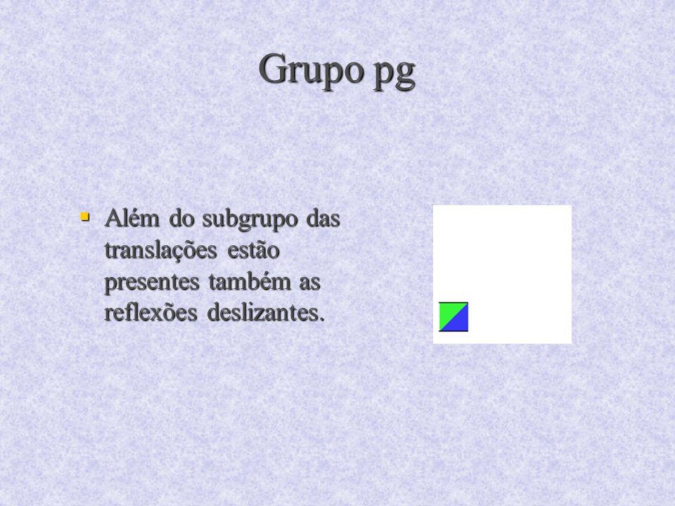 Grupo pg Além do subgrupo das translações estão presentes também as reflexões deslizantes. Além do subgrupo das translações estão presentes também as