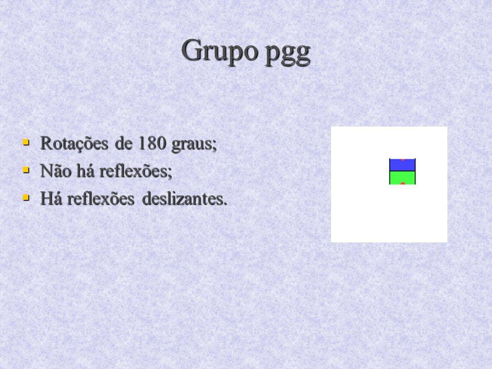 Grupo pgg Rotações de 180 graus; Rotações de 180 graus; Não há reflexões; Não há reflexões; Há reflexões deslizantes. Há reflexões deslizantes.