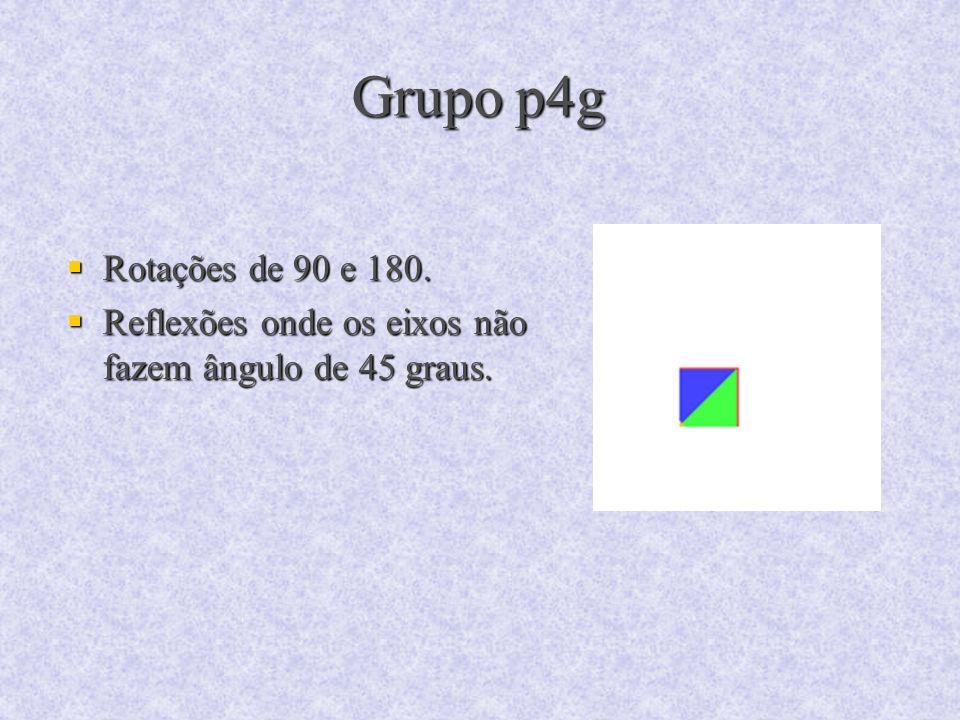 Grupo p4g Rotações de 90 e 180. Rotações de 90 e 180. Reflexões onde os eixos não fazem ângulo de 45 graus. Reflexões onde os eixos não fazem ângulo d