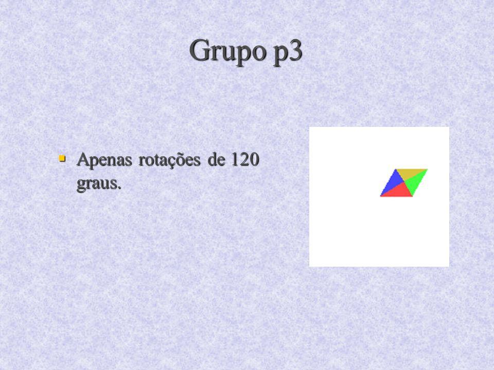 Grupo p3 Apenas rotações de 120 graus. Apenas rotações de 120 graus.