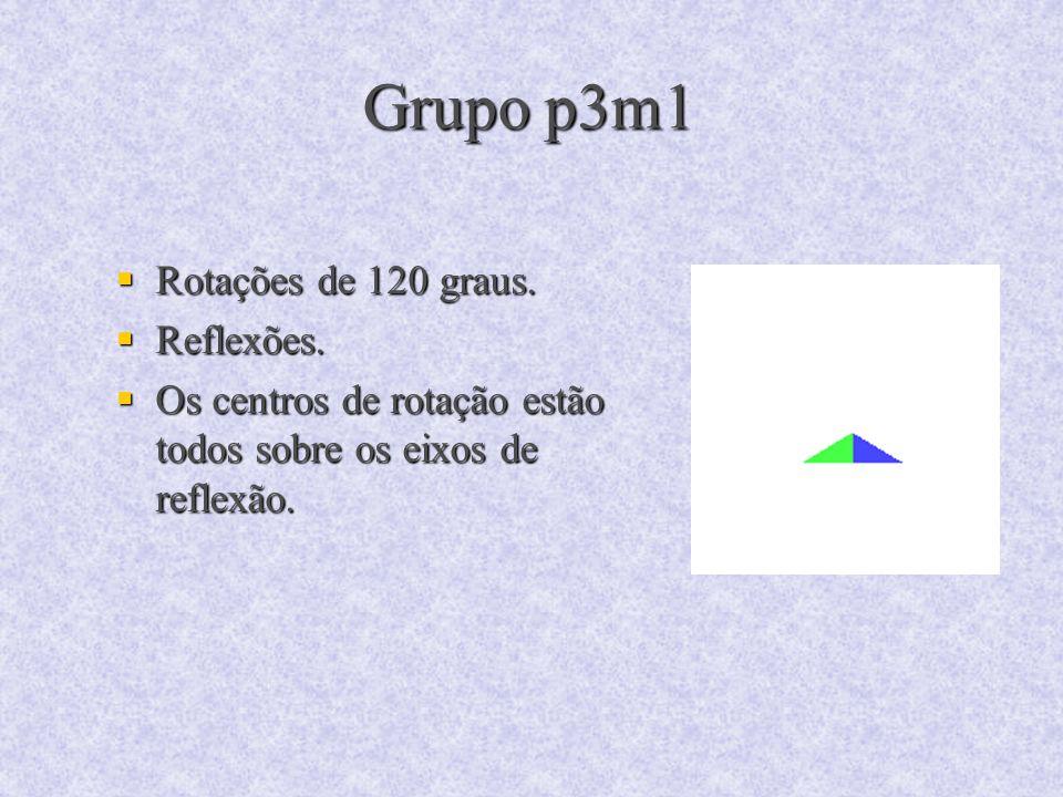 Grupo p3m1 Rotações de 120 graus. Rotações de 120 graus. Reflexões. Reflexões. Os centros de rotação estão todos sobre os eixos de reflexão. Os centro
