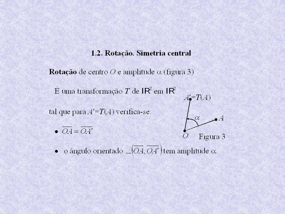 A rotação inversa T 1 é a rotação de centroO e amplitude.