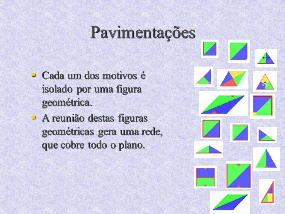 Pavimentações Cada um dos motivos é isolado por uma figura geométrica. Cada um dos motivos é isolado por uma figura geométrica. A reunião destas figur