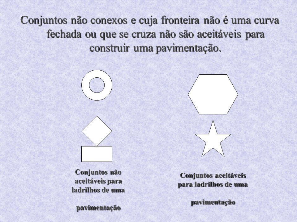 Conjuntos aceitáveis para ladrilhos de uma pavimentação Conjuntos não aceitáveis para ladrilhos de uma pavimentação Conjuntos não conexos e cuja front