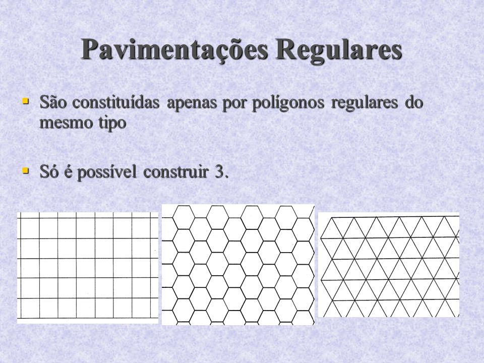 Pavimentações Regulares São constituídas apenas por polígonos regulares do mesmo tipo São constituídas apenas por polígonos regulares do mesmo tipo Só