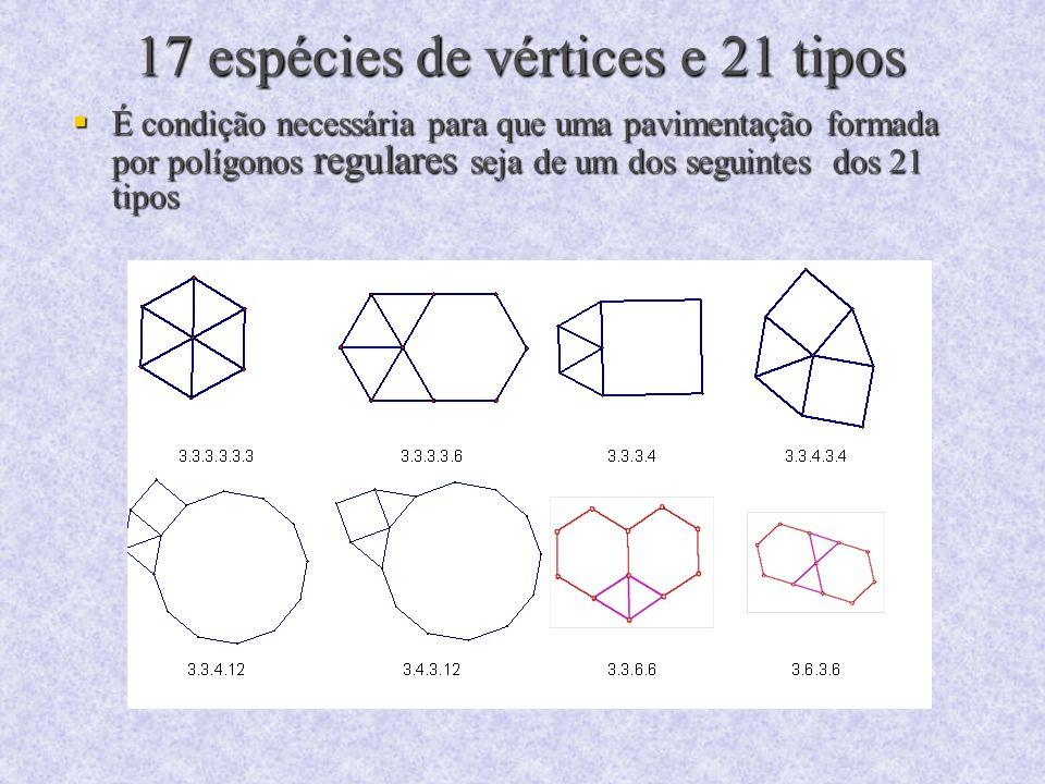 17 espécies de vértices e 21 tipos É condição necessária para que uma pavimentação formada por polígonos regulares seja de um dos seguintes dos 21 tip