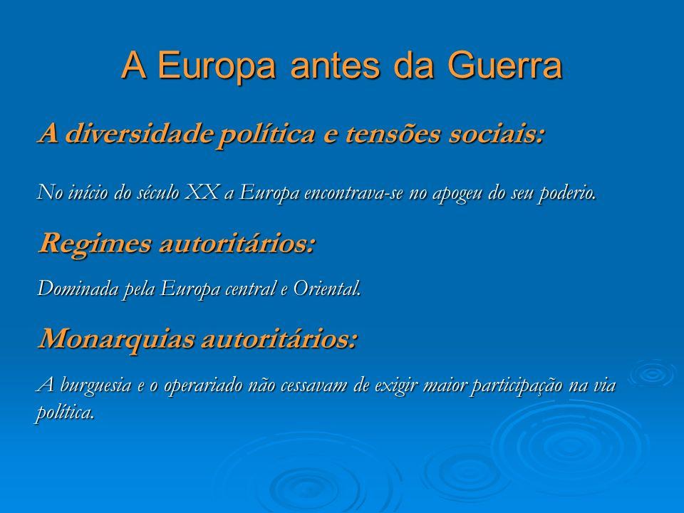 A Europa antes da Guerra A diversidade política e tensões sociais: No início do século XX a Europa encontrava-se no apogeu do seu poderio. Regimes aut