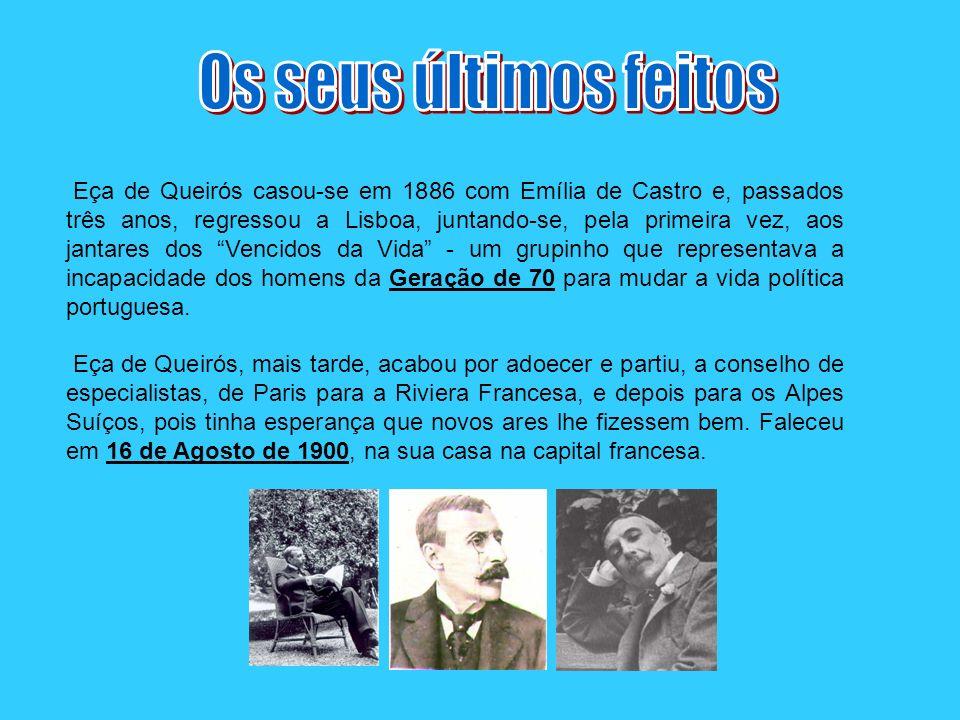 Eça de Queirós casou-se em 1886 com Emília de Castro e, passados três anos, regressou a Lisboa, juntando-se, pela primeira vez, aos jantares dos Venci
