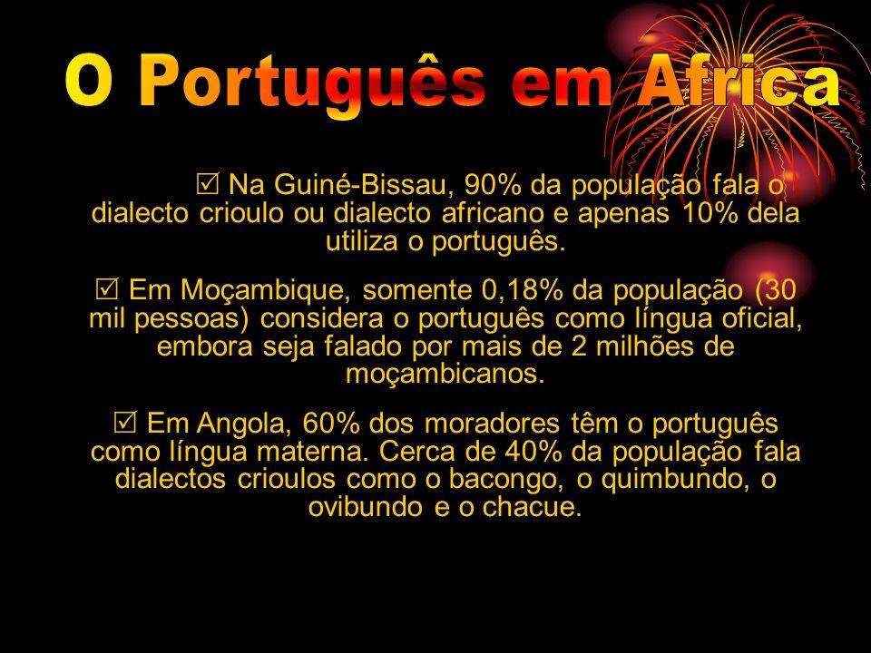 Na Guiné-Bissau, 90% da população fala o dialecto crioulo ou dialecto africano e apenas 10% dela utiliza o português. Em Moçambique, somente 0,18% da
