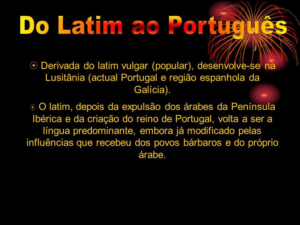 Derivada do latim vulgar (popular), desenvolve-se na Lusitânia (actual Portugal e região espanhola da Galícia). O latim, depois da expulsão dos árabes
