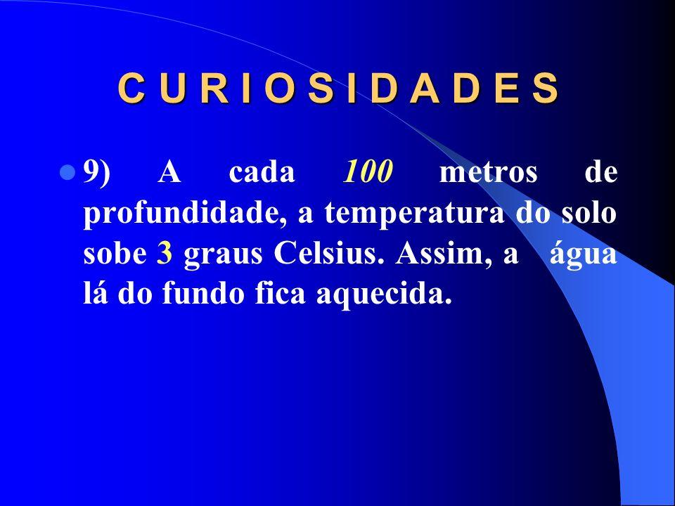 C U R I O S I D A D E S 9) A cada 100 metros de profundidade, a temperatura do solo sobe 3 graus Celsius.