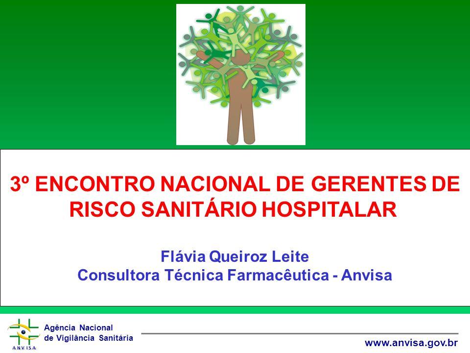 Agência Nacional de Vigilância Sanitária www.anvisa.gov.br 3º ENCONTRO NACIONAL DE GERENTES DE RISCO SANITÁRIO HOSPITALAR Flávia Queiroz Leite Consultora Técnica Farmacêutica - Anvisa