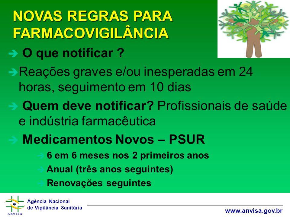 Agência Nacional de Vigilância Sanitária www.anvisa.gov.br NOVAS REGRAS PARA FARMACOVIGILÂNCIA è O que notificar .