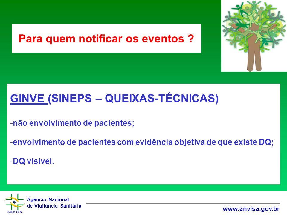 Agência Nacional de Vigilância Sanitária www.anvisa.gov.br GINVE (SINEPS – QUEIXAS-TÉCNICAS) -não envolvimento de pacientes; -envolvimento de pacientes com evidência objetiva de que existe DQ; -DQ visível.