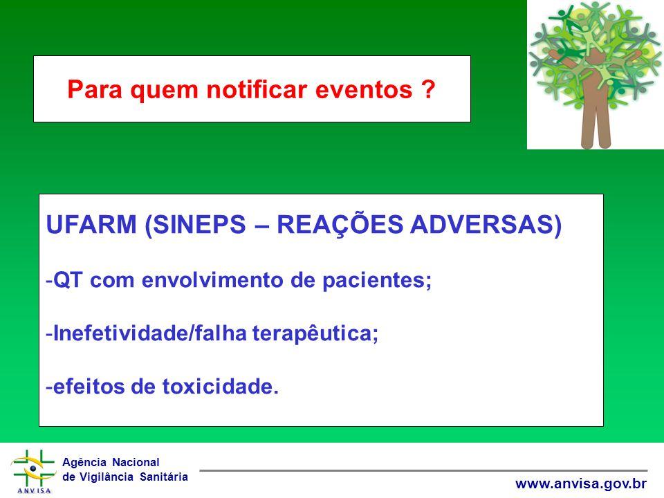 Agência Nacional de Vigilância Sanitária www.anvisa.gov.br UFARM (SINEPS – REAÇÕES ADVERSAS) -QT com envolvimento de pacientes; -Inefetividade/falha terapêutica; -efeitos de toxicidade.