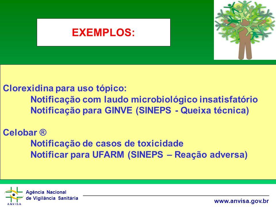 Agência Nacional de Vigilância Sanitária www.anvisa.gov.br Clorexidina para uso tópico: Notificação com laudo microbiológico insatisfatório Notificaçã