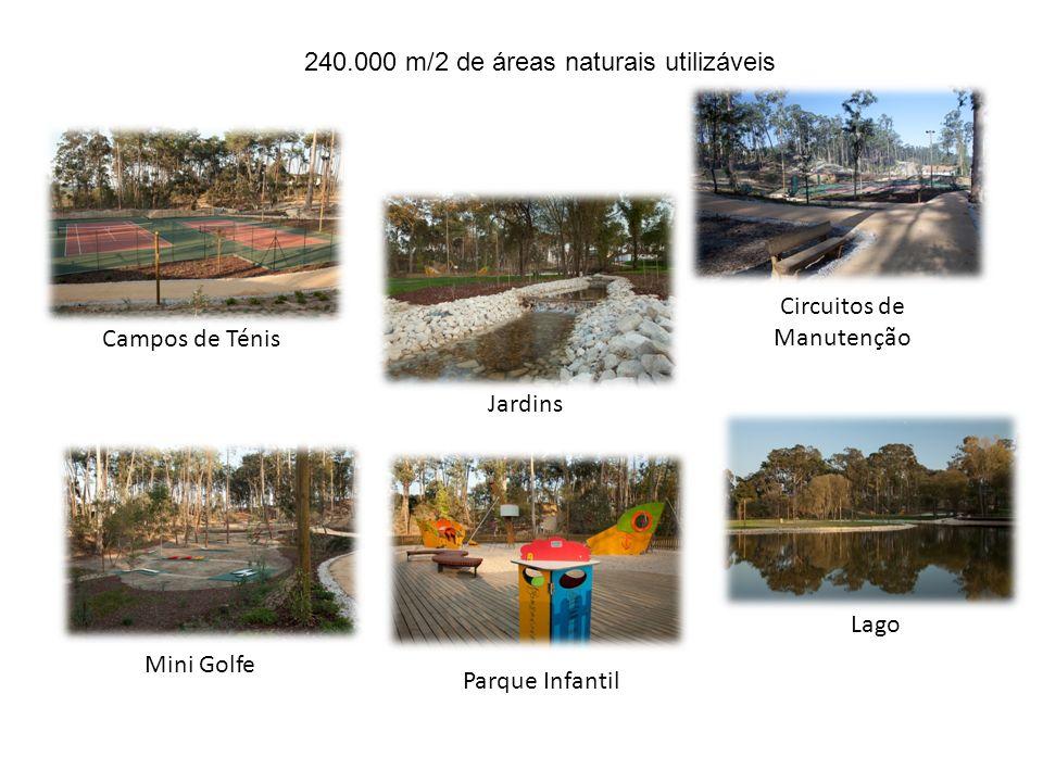 Campos de Ténis Mini Golfe Parque Infantil Lago Circuitos de Manutenção Jardins 240.000 m/2 de áreas naturais utilizáveis