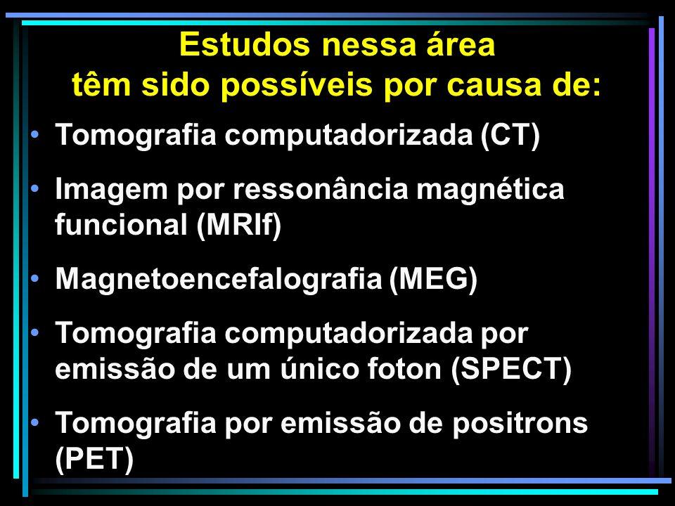 Estudos nessa área têm sido possíveis por causa de: Tomografia computadorizada (CT) Imagem por ressonância magnética funcional (MRIf) Magnetoencefalografia (MEG) Tomografia computadorizada por emissão de um único foton (SPECT) Tomografia por emissão de positrons (PET)