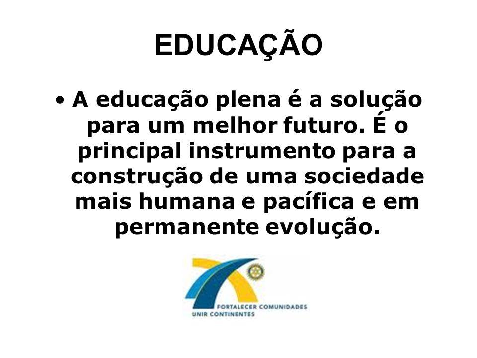 EDUCAÇÃO A educação plena é a solução para um melhor futuro. É o principal instrumento para a construção de uma sociedade mais humana e pacífica e em