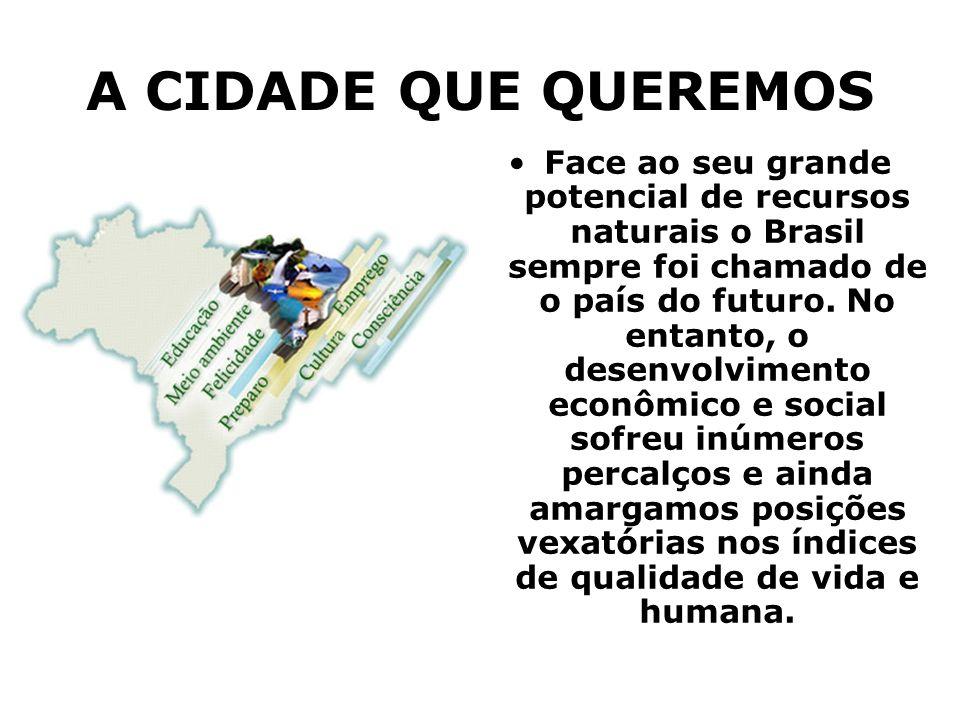 A CIDADE QUE QUEREMOS Face ao seu grande potencial de recursos naturais o Brasil sempre foi chamado de o país do futuro. No entanto, o desenvolvimento