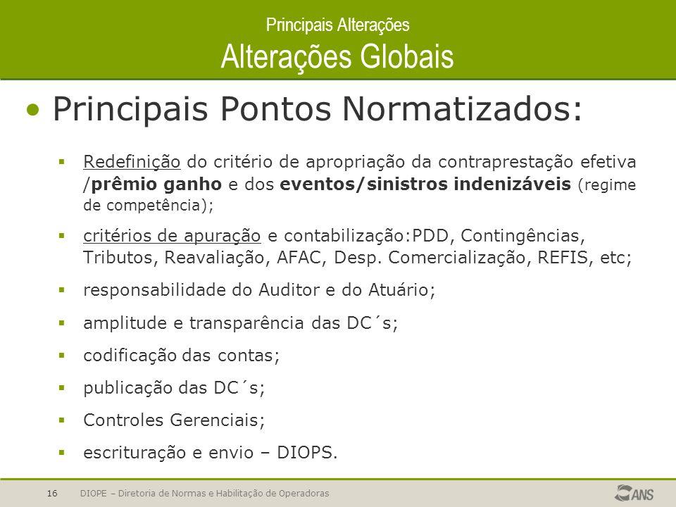 DIOPE – Diretoria de Normas e Habilitação de Operadoras16 Principais Alterações Alterações Globais Principais Pontos Normatizados: Redefinição do crit