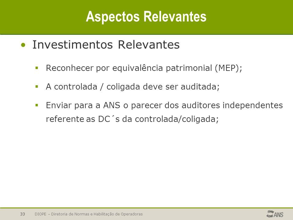 DIOPE – Diretoria de Normas e Habilitação de Operadoras33 Aspectos Relevantes Investimentos Relevantes Reconhecer por equivalência patrimonial (MEP);