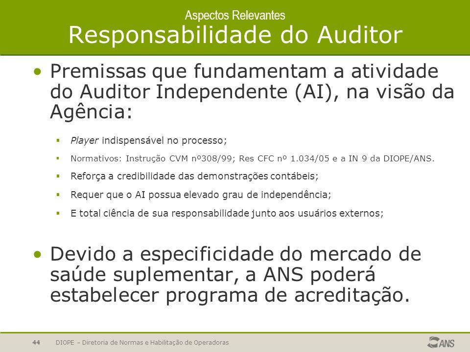 DIOPE – Diretoria de Normas e Habilitação de Operadoras44 Aspectos Relevantes Responsabilidade do Auditor Premissas que fundamentam a atividade do Aud